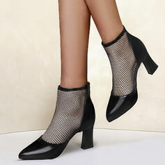 Women's Mesh PU Chunky Heel Pumps Heels Pointed Toe With Hollow-out Solid Color shoes