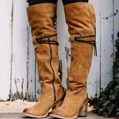 Women's Suede Chunky Heel Pumps Boots Knee High Boots Pointed Toe With Zipper Lace-up Others Solid Color shoes