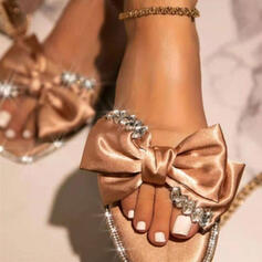 Women's PU Flat Heel Sandals Peep Toe Slippers With Bowknot Solid Color shoes