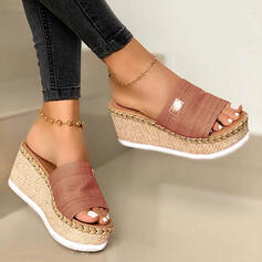 Women's Suede Wedge Heel Sandals Wedges Peep Toe Slippers With Others Braided Strap Solid Color shoes