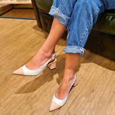 Women's Leatherette Chunky Heel Pumps Pointed Toe With Buckle Splice Color shoes