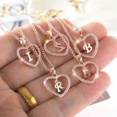 Letter Shining Heart Initial Alloy Rhinestones Women's Necklaces