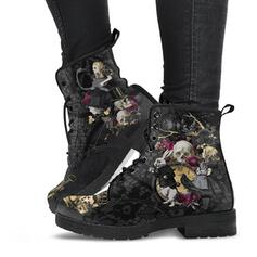 Women's Leatherette Mesh Low Heel Ankle Boots Low Top Round Toe Combat Boots With Lace-up Flower shoes