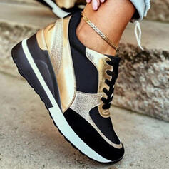 Women's PU Others Flats Sneakers With Lace-up Splice Color shoes