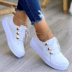 Women's PU Flat Heel Flats Low Top Sneakers With Lace-up Button shoes