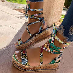 Women's Leatherette Wedge Heel Sandals Wedges Peep Toe With Animal Print Lace-up shoes