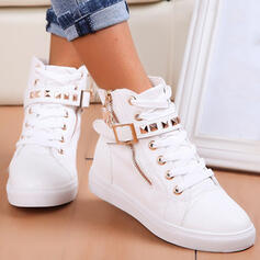 Women's PU Flat Heel Boots With Rivet Zipper Lace-up Solid Color shoes