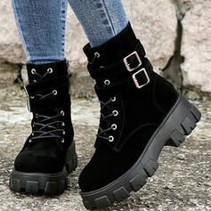 Women's Suede Chunky Heel Boots Mid-Calf Boots Martin Boots Round Toe With Buckle Lace-up Solid Color shoes