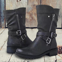 Women's PU Chunky Heel Mid-Calf Boots Round Toe With Buckle Zipper Solid Color shoes