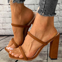 Women's Suede Chunky Heel Sandals Pumps Peep Toe Slippers Heels With Hollow-out Solid Color shoes