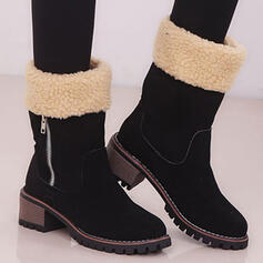 Women's Suede Chunky Heel Mid-Calf Boots Round Toe Winter Boots With Zipper Colorblock shoes