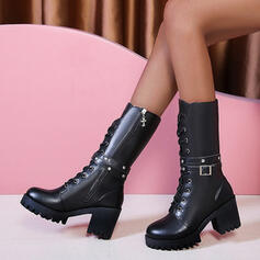 Women's PU Chunky Heel Mid-Calf Boots Round Toe Martin Boots With Buckle Zipper Lace-up shoes