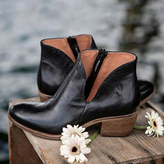 Women's Leatherette Chunky Heel Boots Low Top Pointed Toe With Zipper Solid Color shoes