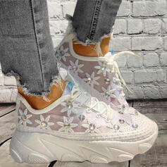 Women's PU Flat Heel Flats Round Toe Sneakers With Beading Lace-up Hollow-out Flower shoes