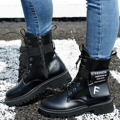 Women's PU Low Heel Boots Mid-Calf Boots Martin Boots Round Toe With Zipper Lace-up Elastic Band shoes