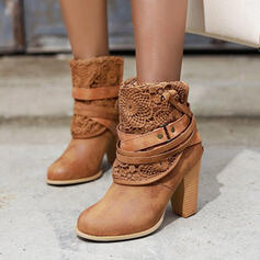 Women's Leatherette Chunky Heel Ankle Boots With Rivet Lace shoes