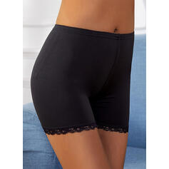 Solid Lace Solid Stretchy Shorts Leggings