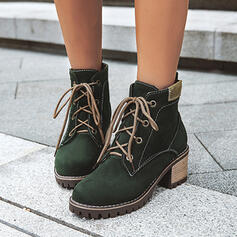 Women's Suede Chunky Heel Ankle Boots Martin Boots Round Toe With Lace-up Solid Color shoes