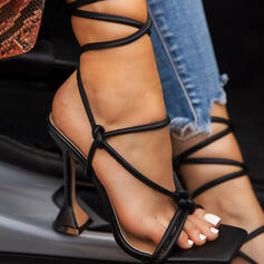 Women's PU Kitten Heel Sandals Pumps Peep Toe Heels With Lace-up Solid Color shoes