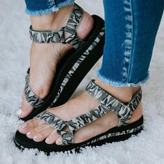 Women's Flying Weave Flat Heel Sandals Flats Peep Toe With Hollow-out Velcro shoes