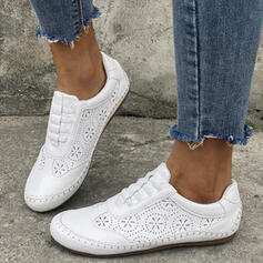 Women's PU Flat Heel Flats Low Top Round Toe Loafers With Hollow-out Solid Color shoes