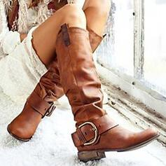 Women's PU Chunky Heel Mid-Calf Boots With Buckle Solid Color shoes