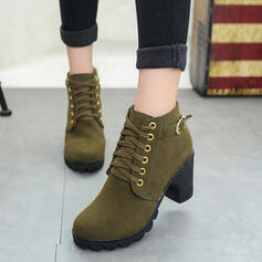 Women's PU Chunky Heel Ankle Boots Low Top Round Toe With Buckle Lace-up Solid Color shoes