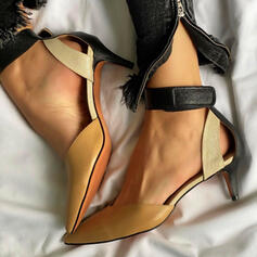 Women's PU Stiletto Heel Sandals Pumps Closed Toe Pointed Toe With Hollow-out Splice Color shoes