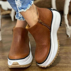Women's Leatherette Flat Heel Platform Boots Ankle Boots Round Toe With Zipper Solid Color shoes