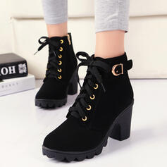 Women's PU Chunky Heel Pumps Closed Toe Boots Round Toe With Buckle Lace-up Solid Color shoes