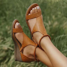 Women's Leatherette Wedge Heel Sandals Wedges Peep Toe With Buckle Hollow-out Solid Color shoes