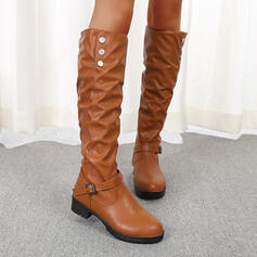 Women's PU Flat Heel Boots Mid-Calf Boots With Solid Color shoes