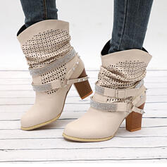 Women's PU Chunky Heel Pumps Mid-Calf Boots Pointed Toe With Rhinestone Rivet Buckle shoes