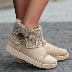 Women's Leatherette Flat Heel Ankle Boots Snow Boots Low Top Round Toe With Button shoes