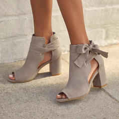 Women's Suede Chunky Heel Sandals Pumps Peep Toe Ankle Boots Round Toe With Bowknot Lace-up Hollow-out Solid Color shoes