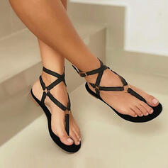 Women's PU Flat Heel Sandals Flats Peep Toe Slingbacks Flip-Flops Low Top With Hollow-out Solid Color Bandage shoes
