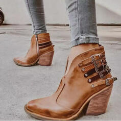 Women's PU Chunky Heel Ankle Boots Pointed Toe With Rivet Buckle shoes