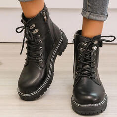 Women's PU Chunky Heel Boots Martin Boots Round Toe With Buckle Zipper Lace-up Solid Color shoes