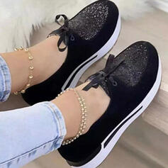 Women's PU Others Flats Round Toe With Rhinestone Lace-up Print shoes