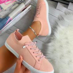 Women's Mesh Flat Heel Flats Low Top Sneakers With Lace-up shoes