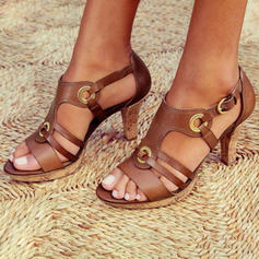 Women's PU Chunky Heel Sandals Pumps Peep Toe Low Top With Buckle Hollow-out Solid Color shoes