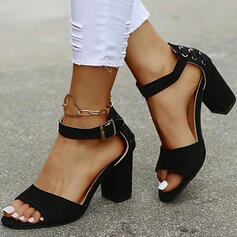 Women's PU Chunky Heel Sandals Pumps Peep Toe Low Top With Buckle Lace-up Solid Color shoes