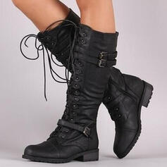 Women's PU Chunky Heel Mid-Calf Boots With Buckle Lace-up Solid Color shoes