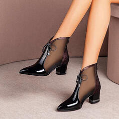 Women's Leatherette Chunky Heel Closed Toe Ankle Boots Low Top Pointed Toe With Stitching Lace Lace-up Solid Color shoes