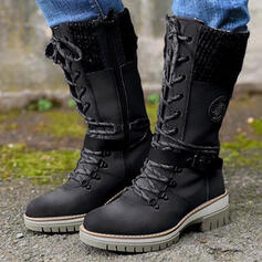 Women's PU Chunky Heel Boots Mid-Calf Boots Martin Boots Round Toe Combat Boots With Buckle Lace-up Solid Color shoes