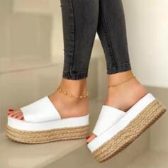 Women's PU Flat Heel Sandals Platform Slippers With Others shoes