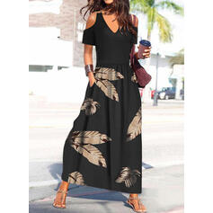 Print Short Sleeves Cold Shoulder Sleeve A-line Skater Casual/Vacation Maxi Dresses
