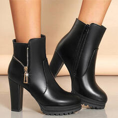 Women's PU Chunky Heel Ankle Boots Low Top Round Toe With Zipper Solid Color shoes