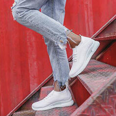 Women's Cloth Flat Heel Flats Low Top Round Toe Sneakers With Lace-up Stripe shoes