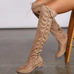 Women's Suede Low Heel Riding Boots With Ruched Lace-up Solid Color shoes